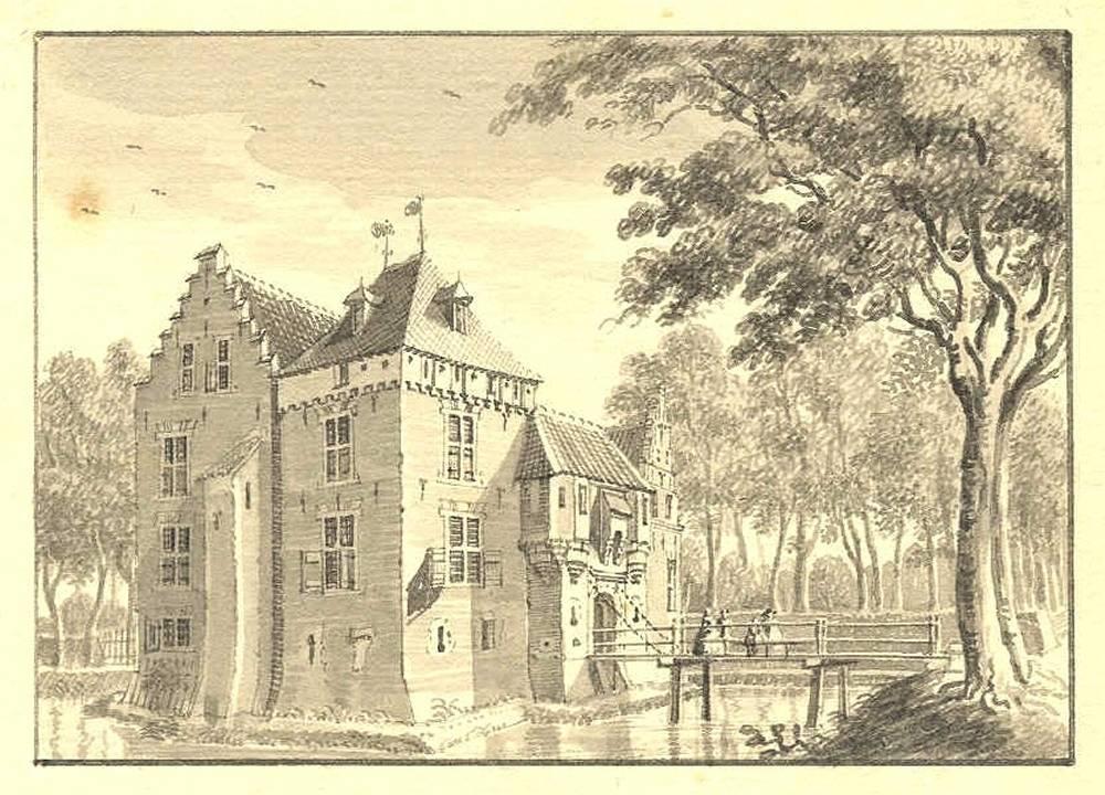 Huis Hulsen in Hees. Tekening Jan de Beijer, 1739